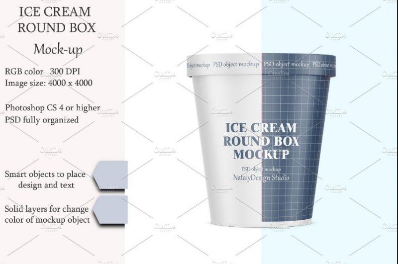 Ice Cream Round Box Mockup