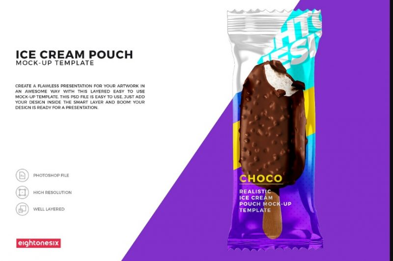 Ice Cream Pouch Mockup PSD