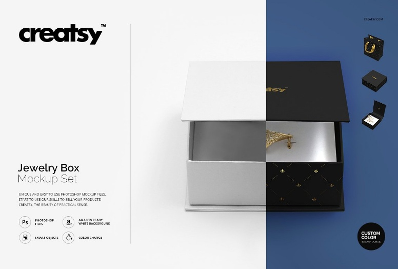 Jewelry Box Packaging Mockup PSD