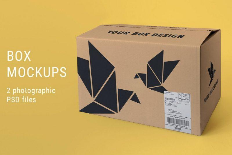 Large Packaging Box Mockup PSD
