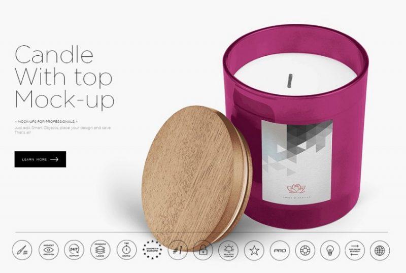 Layered Candle Mockup PSD