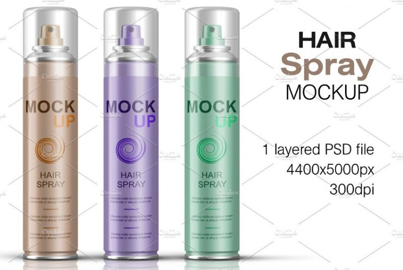 Layered Hair Spray Mockup PSD