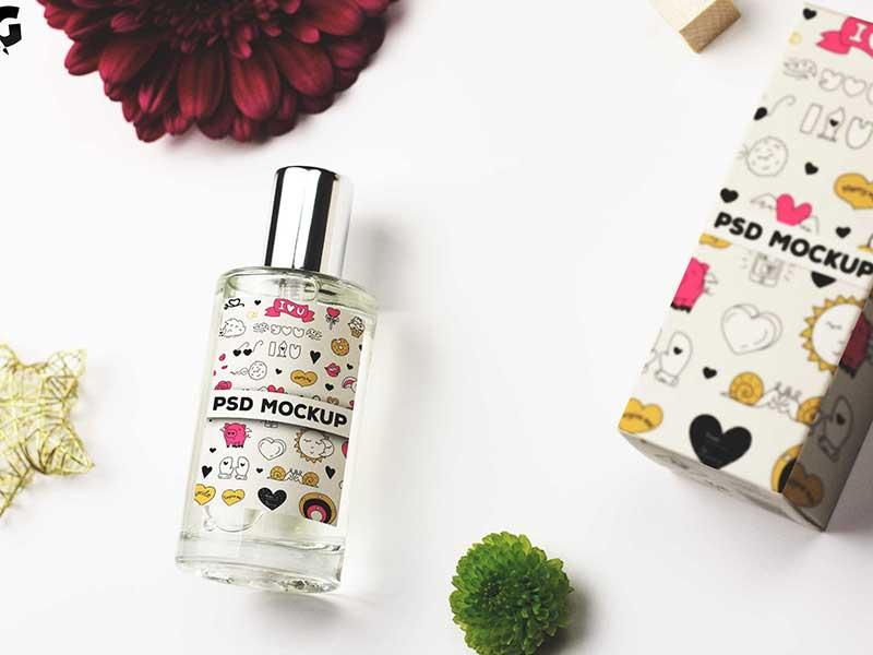 Layered Perfume Bottle Mockup PSD
