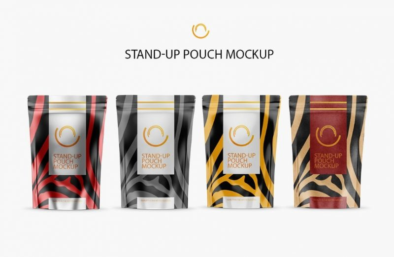 Layered Stand Up Pouch Mockup PSD