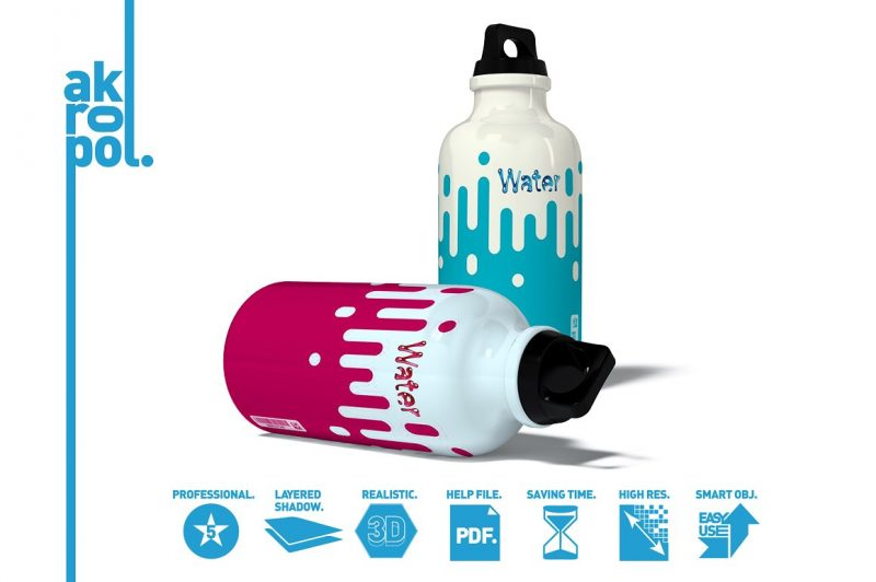 Layered Water Bottle Mockup PSD
