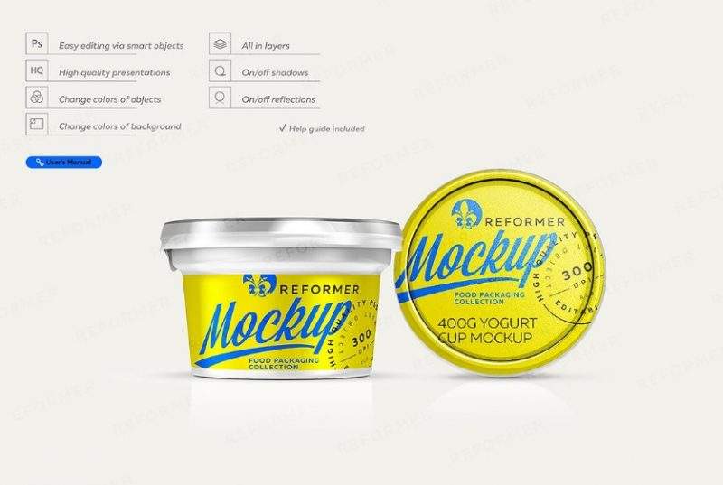 Layered Yogurt Mockup PSD