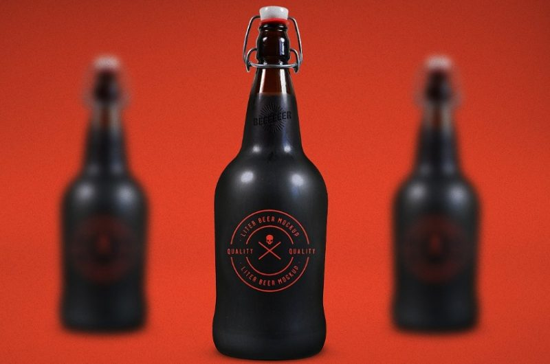 Liter Beer Bottle Mockup PSD