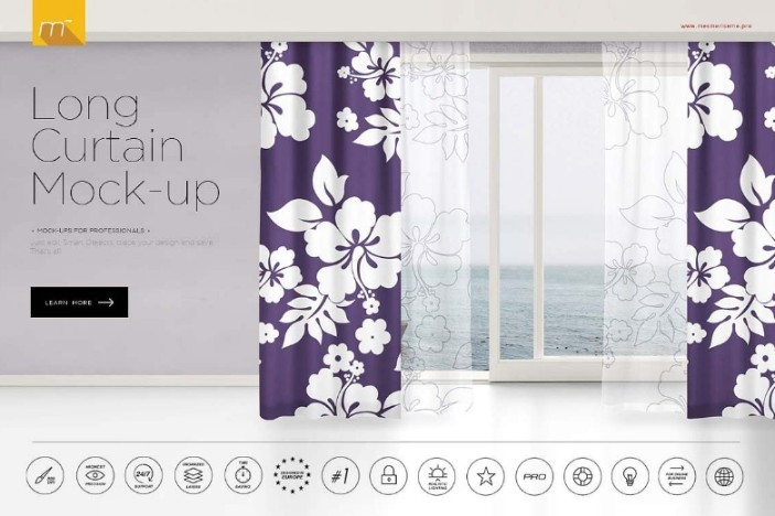 Long Curtain Mockup PSD