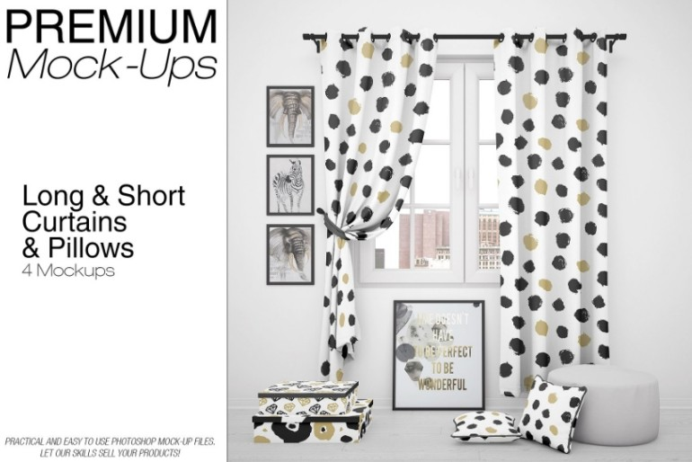 Long and Short Curtains Mockup PSD