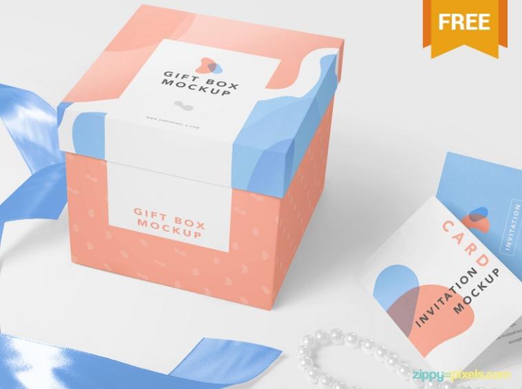 Luxury Gift Box Mockup PSD