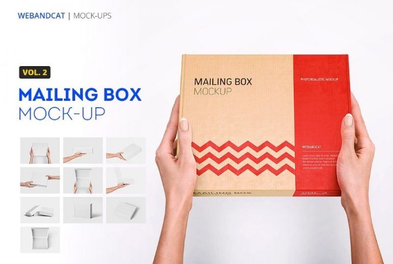 Mailing Box in Hand Mockup PSD