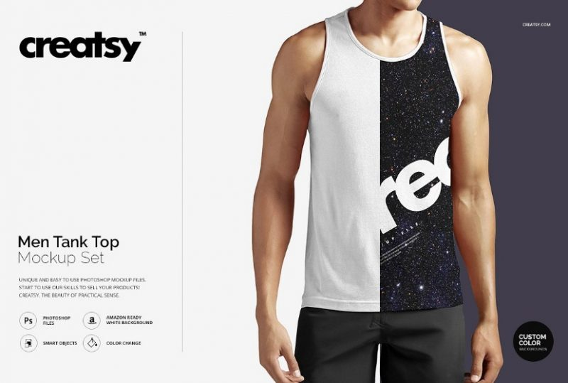Man Tank Top Mockup PSD