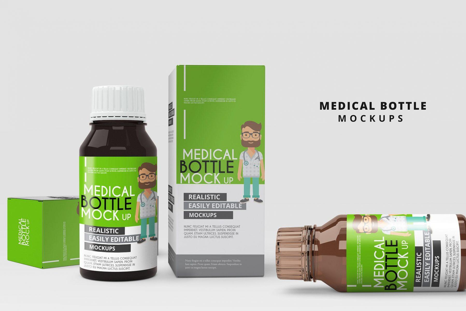 Medical Bottles Mockup PSD