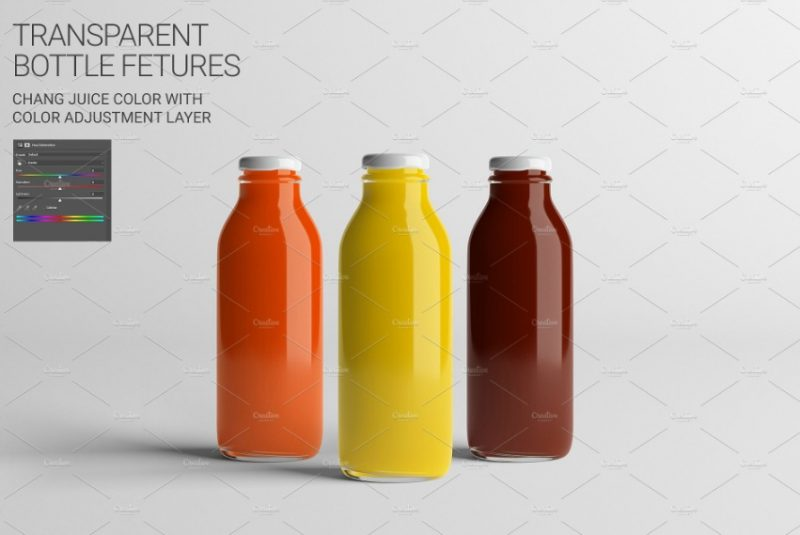 Medium Juice Bottle Mockup PSD