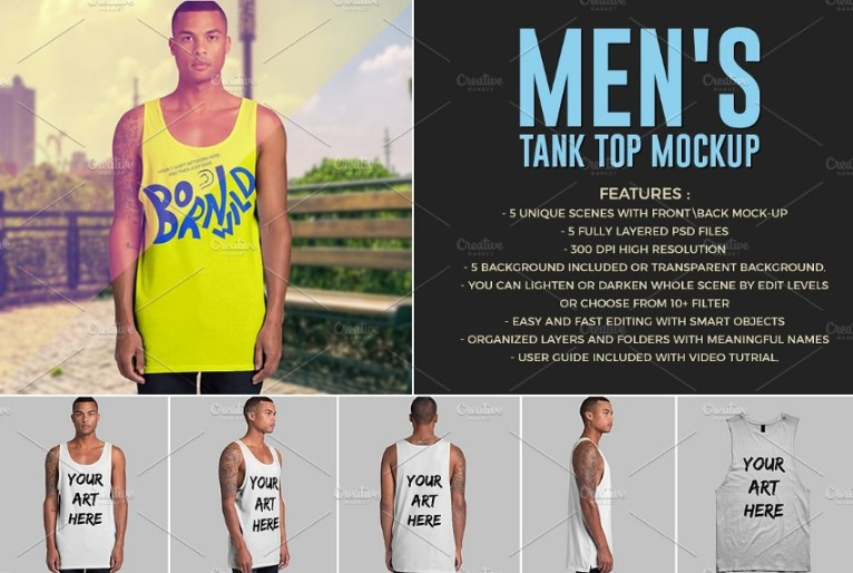 Men's Tank Top Mockup PSD