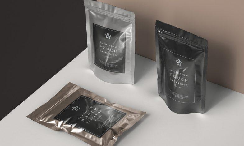 Metallic Foil Packaging Mockup PSD