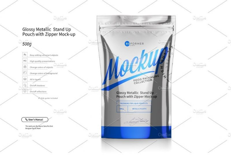 Metallic Stand Up Pouch Mockup