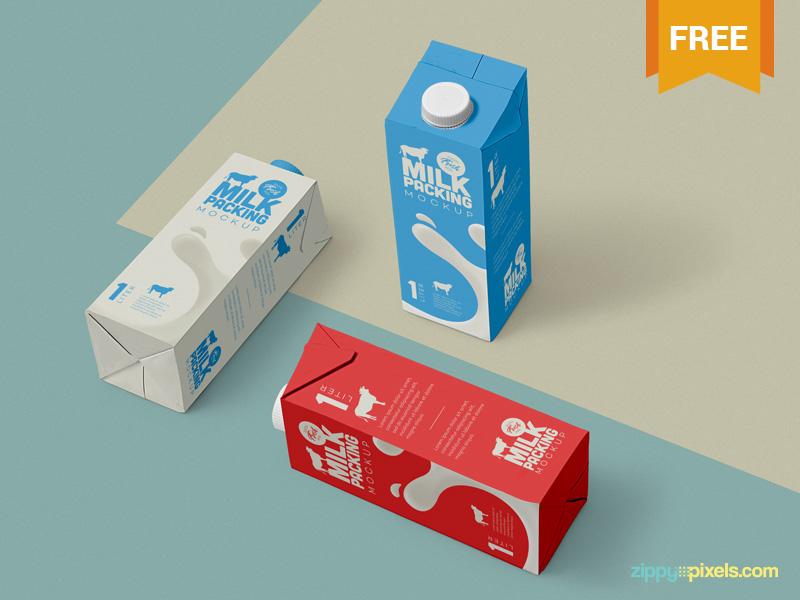 Milk Packaging Mockup PSD