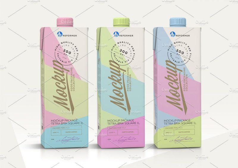 Milk Carton Packaging Mockup