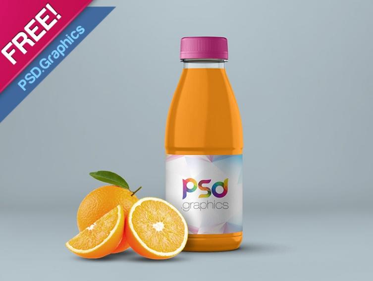 Free Orange Juice Bottle Mockup