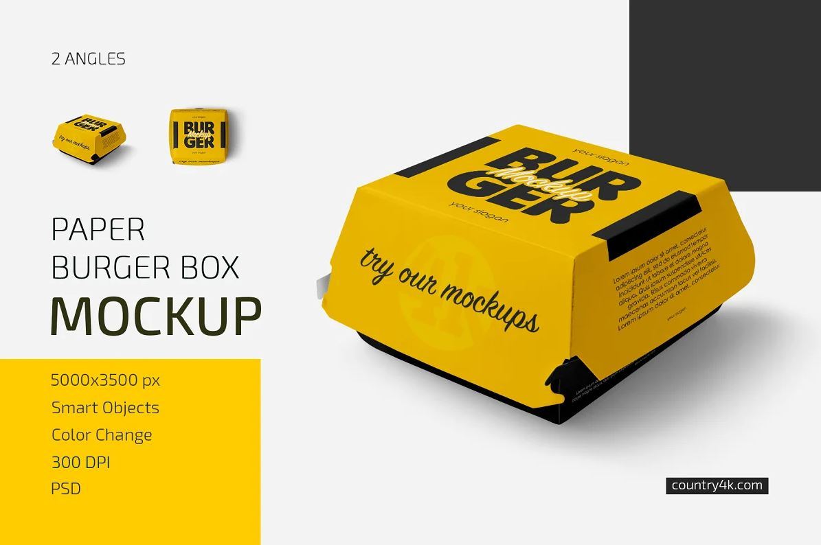 Paper Burger Box Mockup Set