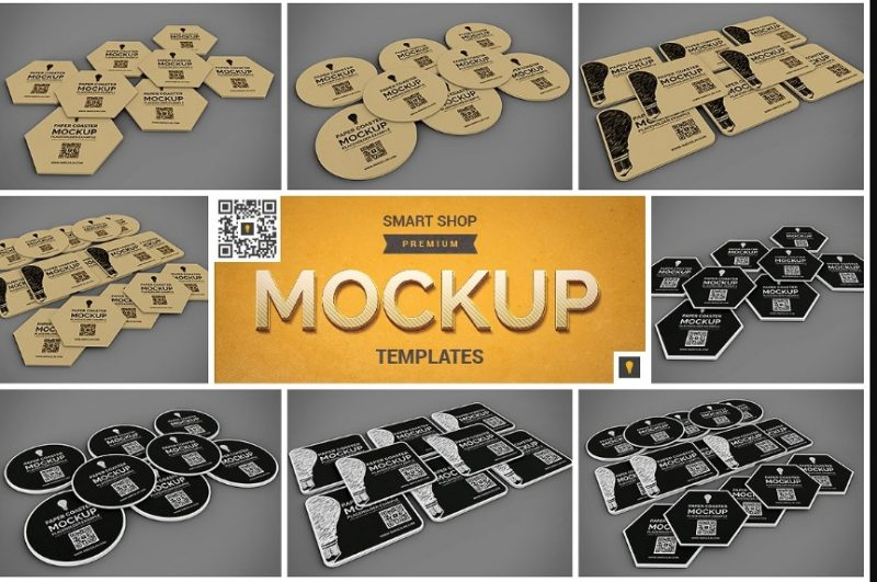 Paper Coaster Mock-up PSD
