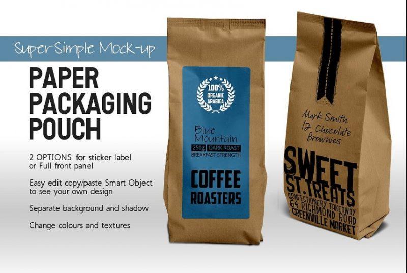 Paper Coffee Bag Packaging Mockup