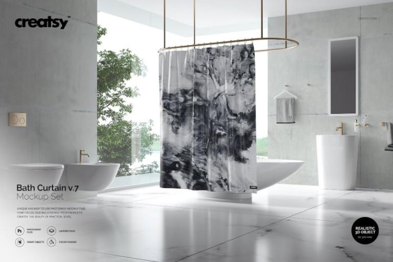 Photo Realistic Curtain Mockup PSD
