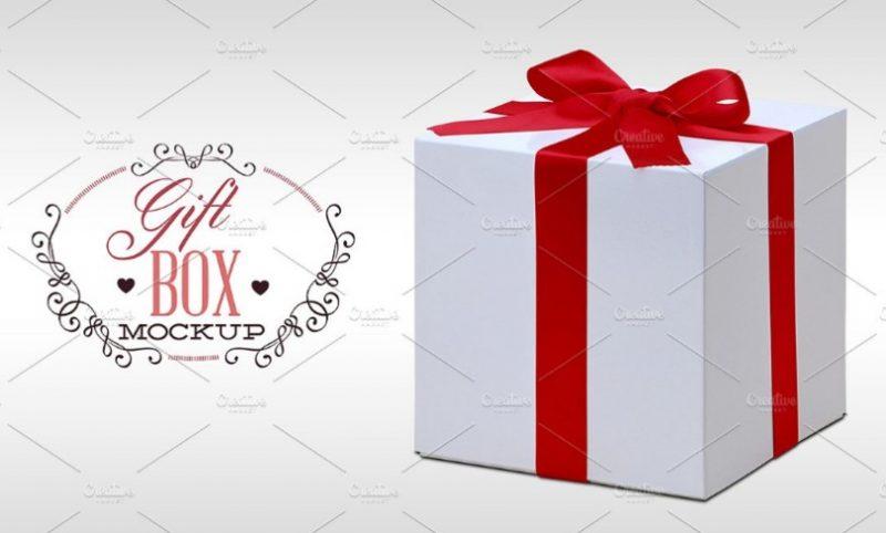 Photo Realistic Gift Box Mockup