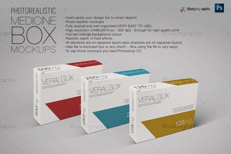 Photo Realistic Medicine Box Mockup