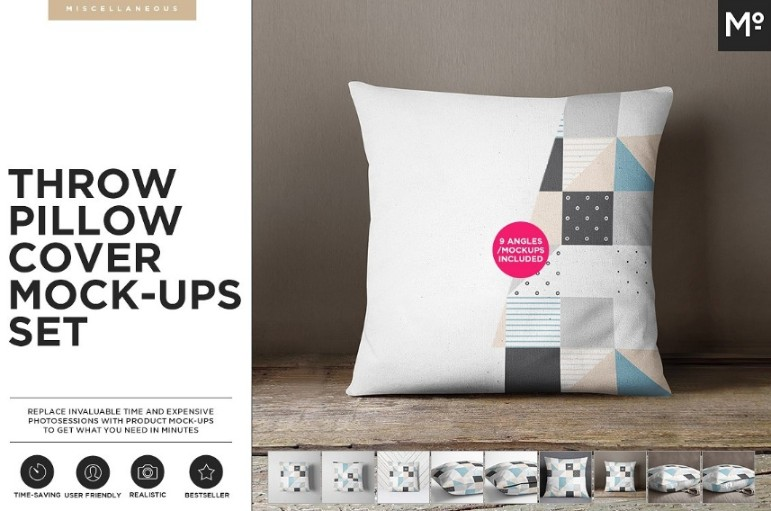 Pillow Cover Mockup PSD