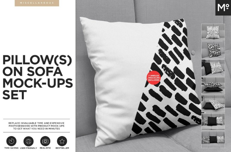 Pillow on Sofa Mockup PSD