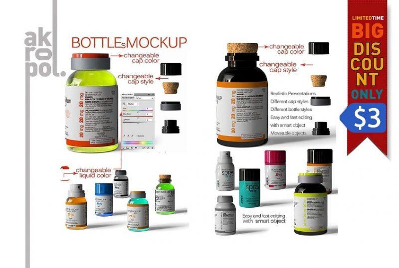 Pills Bottles Branding Mockup