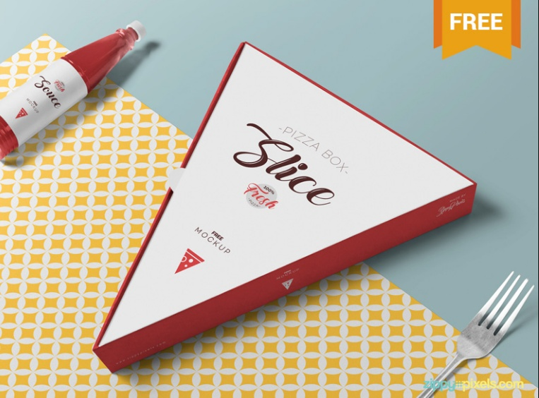 Pizza Slice Box Mockup PSD