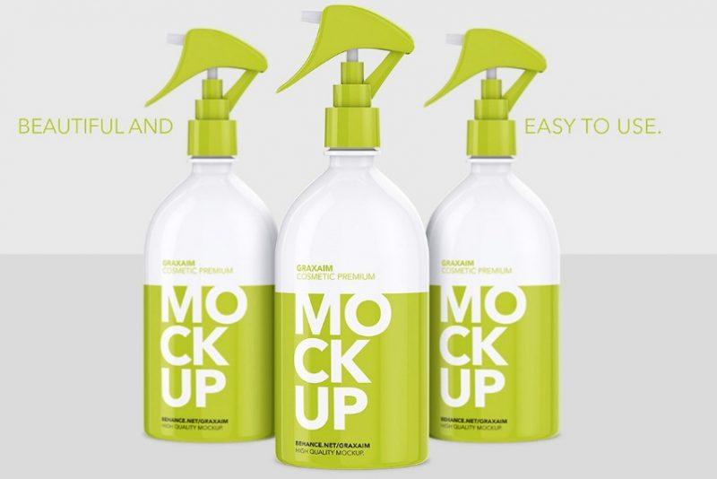 Pump Spray Bottle Mockup PSD