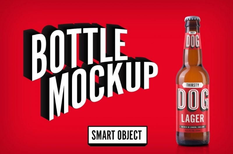 Realistic Beer Bottle Mockup PSD