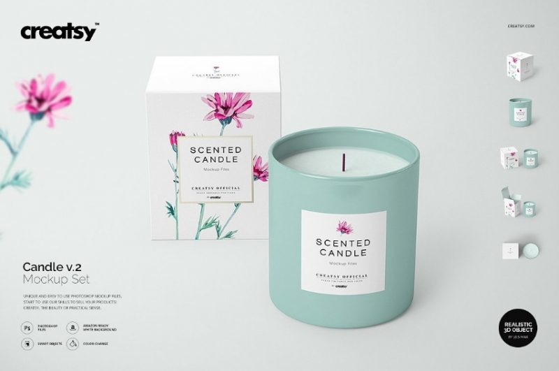 Realistic Candle Packaging Mockup
