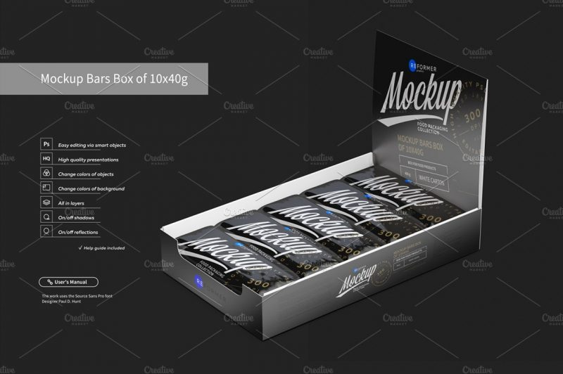 Realistic Chocolate Box Mockup