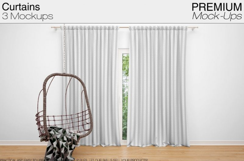 Realistic Curtains Mockup PSD