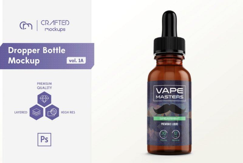 Realistic Dropper Bottle Mockup PSD
