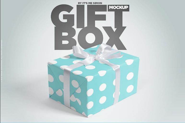 Realistic Gift Box Mockup PSD