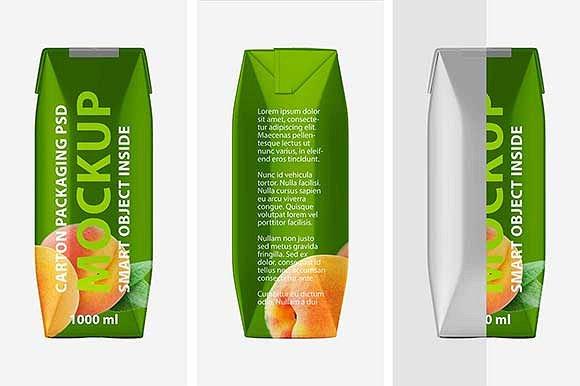 Realistic Juice Carton Mockup