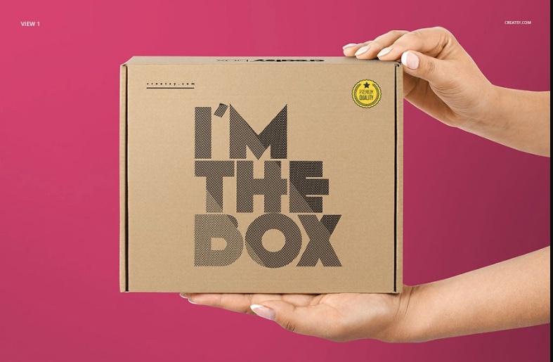 Realistic Mailing Box Mockup Set