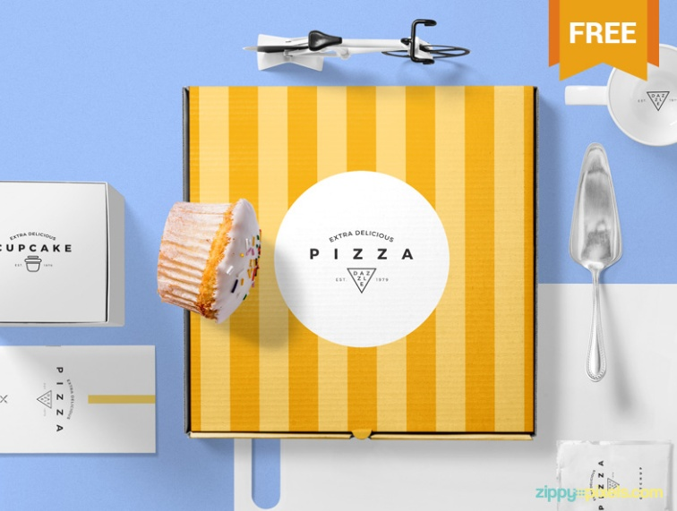 Realistic Pizza Packaging Mockup