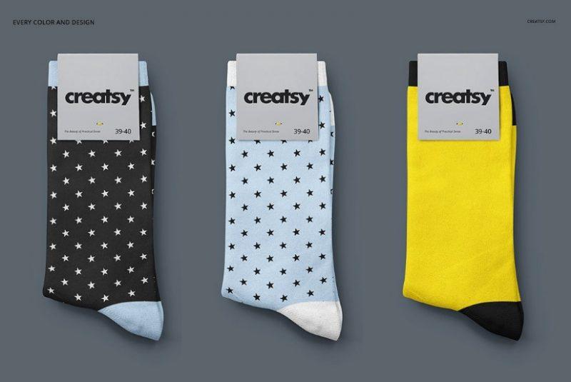 Realistic Socks Mockup PSD Set