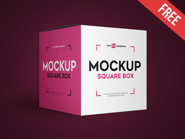 Realistic Square Box Mockup PSD