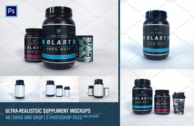 Realistic Supplement Mockup PSD