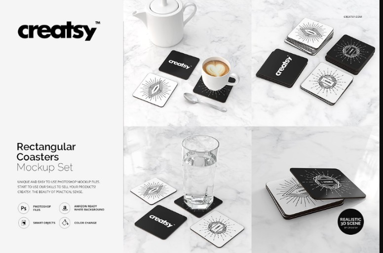 Rectangular Coasters PSD Mockup