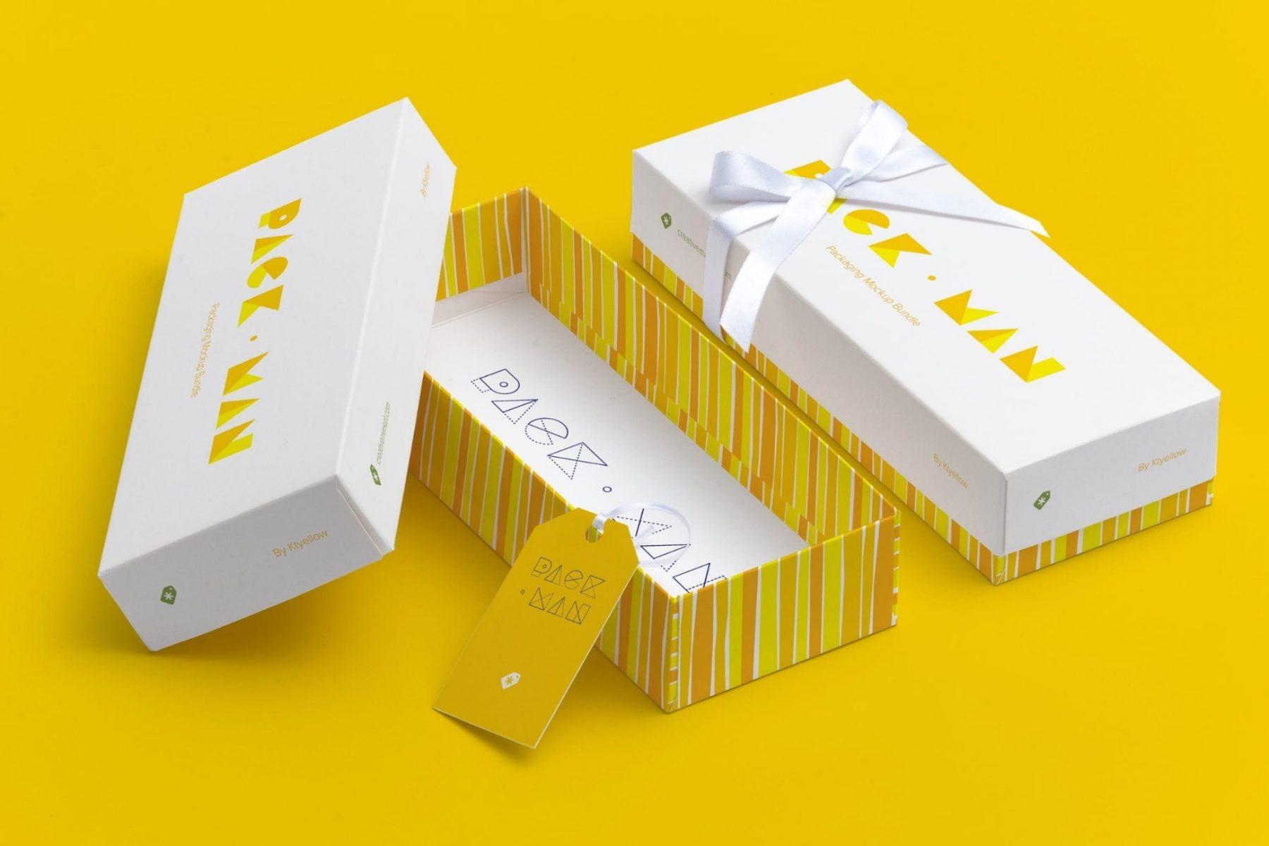 Rectangular Gift Box Mockup PSD