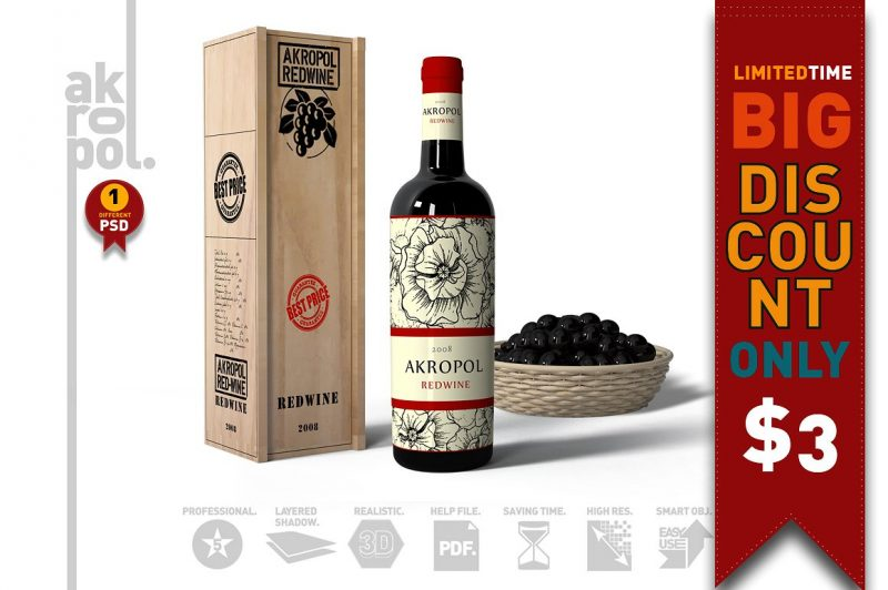 Red Wine Label Mockup